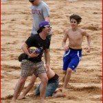 JUSTIN BIEBER: On the beach without a shirt. picture